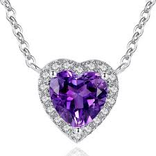 shaped necklace images Romantic 925 sterling silver purple crystal heart shaped necklace jpeg