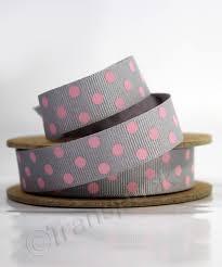 polka dot ribbon patterned ribbon grey with pink spots 15mm 20m gift wrapping
