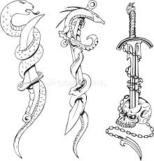 tattoo sketches with snakes daggers and skull stock vector