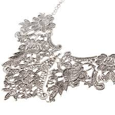 necklace women vintage images Vintage silver plated flower statement choker necklace women jpg