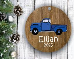 blue truck ornament etsy
