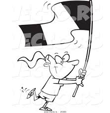 vector of a cartoon flag bearer walking coloring page