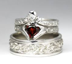 celtic wedding ring sets claddagh wedding set sterling silver new diamond garnet