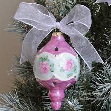 shabby pink porcelain victorian style christmas ornament hand