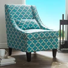 Overstock Armchair Asplin Contemporary Blue Patterned Fabric Upholstered Armchair