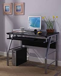 amazon com computer desk with tempered glass kitchen u0026 dining