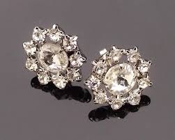 delicate crystal stud earrings art deco style charlotte jules