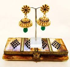 antique gold jhumka earrings bejewelled bazaar gold coated jhumka earrings green accent