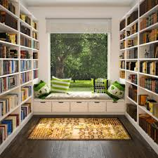 small library ideas for tiny house design with colorful green toss