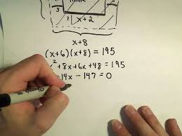 solving a geometry word problem by using quadratic equations example 1