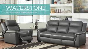 waterstone 2 piece top grain leather power reclining set video