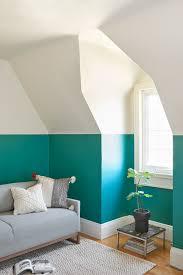 Two Tone Walls A Vibrant Office Update From Farrow U0026 Ball Herringbone Rug Teal
