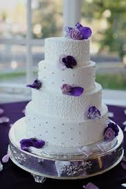 purple wedding cake flowers using petals and pairing with
