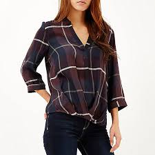 wrap shirts blouses check wrap front v neck blouse blouses shirts tops