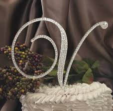 w cake topper 6 monogram wedding cake topper initial with swarovski crystals