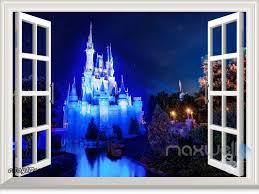 wall stickers home decor girl disney princess magic castle night 3d window wall decal girl sticker party decor