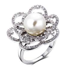 big flower rings images Flower elegant pearl ring flower design ladies big flower ring jpg