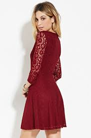 fit and flare dress forever 21 forever 21 lace fit flare dress in purple lyst