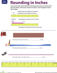 ruler reading rounding in inches worksheet education com