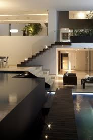 modern interior design open plan house with an indoor swimming