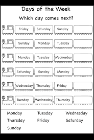 days of the week worksheet printable worksheets pinterest