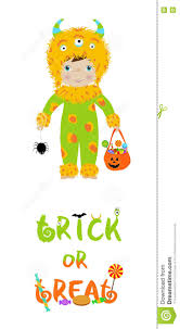 trick or treat halloween card with cute monster stock vector