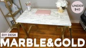 gold and marble diy under 40 desk ikea hack youtube