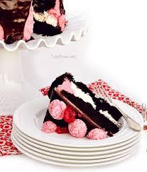 dark chocolate marshmallow cake with raspberry buttercream