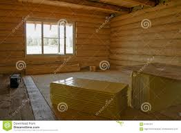 is unfinished wood log cabin home the interior stock photo image