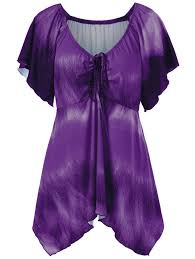 purple blouse plus size 2018 plus size empire waist butterfly sleeve blouse purple xl in