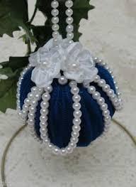 8 vintage tree ornaments pearls satin beaded