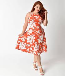 plus size retro style orange u0026 white floral halter flare dress