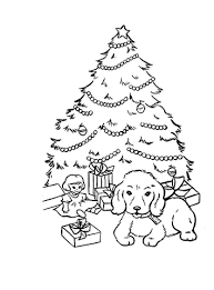 christmas presents and gifts under christmas tree coloring page