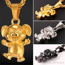 animal gold necklace images Wholesale u7 new cute cartoon pet pig pendant necklace collier jpg