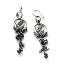 grateful dead dangle earrings sterling silver by cynthia gale