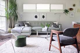 Sage Green Sofa Ideas Family Room Midcentury With White Shag Rug - Family room rugs
