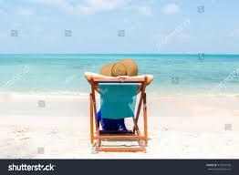 Chairs On A Beach Beautiful Mammy Long Blue Dress Beach Stock Photo 410310160