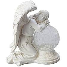 statue with moonrays 92367 serene angel garden statue with crackle globe