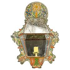 Tin Sconce Spanish Colonial Mexican Hand Painted Tin Candle Sconce Hacienda