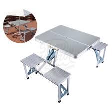 aluminum portable picnic table shop aluminum folding cing picnic table with 4 seats portable set