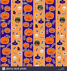 halloween background with purple seamless pattern with different objects for halloween against a