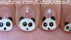 panda nail art for short nails youtube