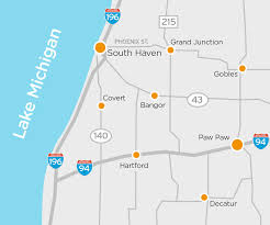Map Of Michigan Lakes by South Haven Visitors Bureau