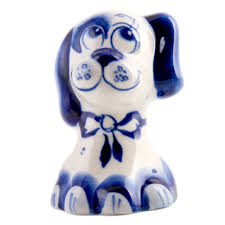 puppy wearing a collar figurine blue u0026white porcelain symbol of