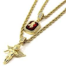 mens gold jewelry necklace images Mens gold angel p ruby bundle set cz pendant 24 quot 30 quot rope jpg