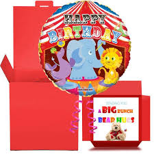 send birthday balloons in a box happy birthday circus balloon in a box free 1st class delivery