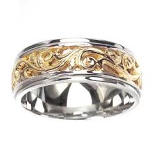 carved wedding band sea of diamonds men s 14k two toned gold elaborate engraved carved