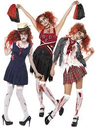 Girls Cheerleader Halloween Costume Ladies Zombie Cheerleader Womens Halloween Fancy