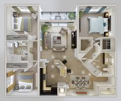 One Bedroom Apartment Floor Plans by 50 Three U201c3 U201d Bedroom Apartment House Plans Breakfast Bars