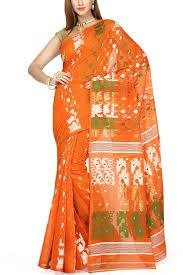 dhakai jamdani saree online giants orange tri color dhakai cotton jamdani saree muslin